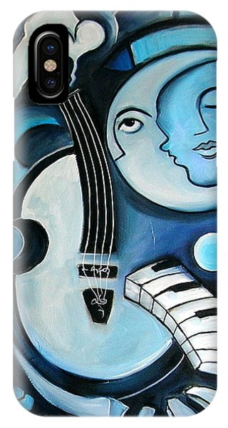Moon iPhone X Case - Black And Bleu by Valerie Vescovi