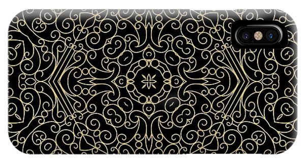 Black And Gold Filigree 002 IPhone Case