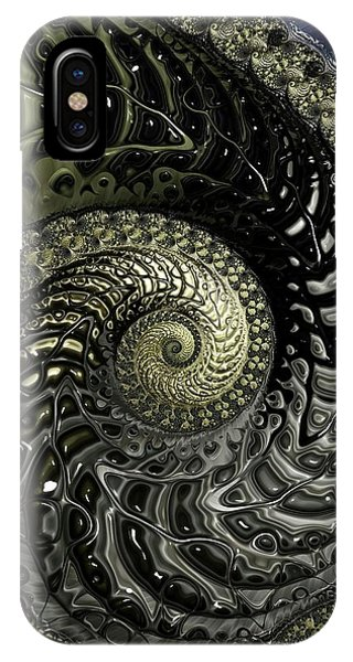 iPhone Case - Black And Gold Spiral by Amanda Moore