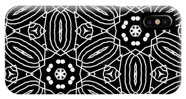 Tribal iPhone Case - Black And White Boho Pattern 2- Art By Linda Woods by Linda Woods