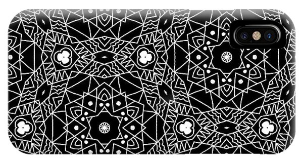 Tribal iPhone Case - Black And White Boho Pattern 3- Art By Linda Woods by Linda Woods