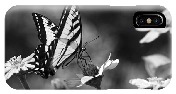 Black And White Butterfly On Flower IPhone Case