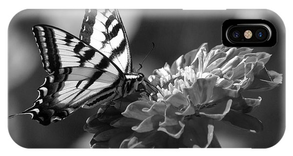 Black And White Butterfly On Zinnia IPhone Case