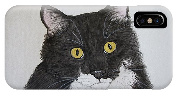 iPhone Case - Black And White Cat by Megan Cohen