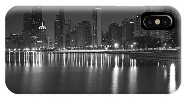 Black And White Chicago Skyline At Night IPhone Case