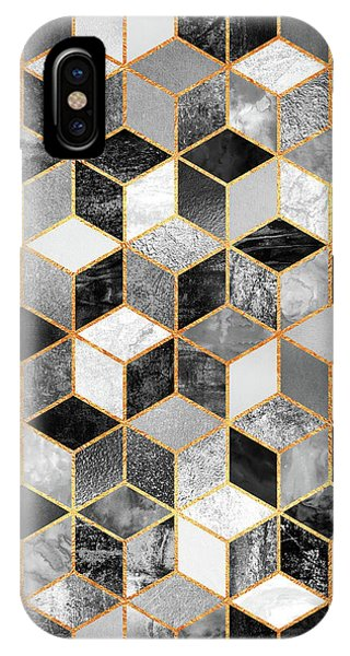 Geometric iPhone Case - Black And White Cubes by Elisabeth Fredriksson