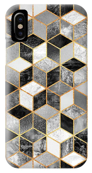 Abstract iPhone Case - Black And White Cubes by Elisabeth Fredriksson