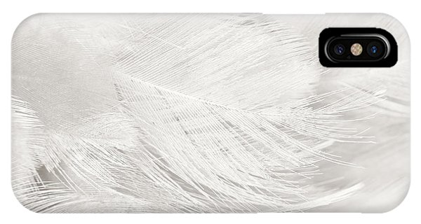 Teal Swan iPhone Case - Black And White Feather Texture Background  by Nattaya Mahaum