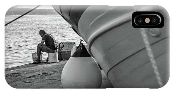 Black And White - Fisherman Cleaning Fish On Docks Of Kastel Gomilica, Split Croatia IPhone Case