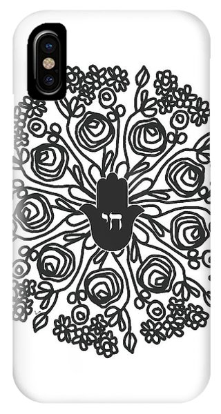 Wood iPhone Case - Black And White Hamsa Mandala- Art By Linda Woods by Linda Woods