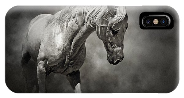 Black And White Horse - Equestrian Art Poster IPhone Case