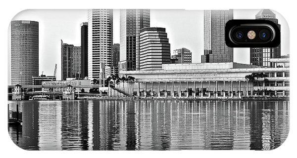 Chicago Skyline Art iPhone Case - Black And White In The Heart Of Tampa Bay by Frozen in Time Fine Art Photography