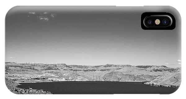Black And White Landscape Photo Of Dry Glacia Ancian Rock Desert IPhone Case