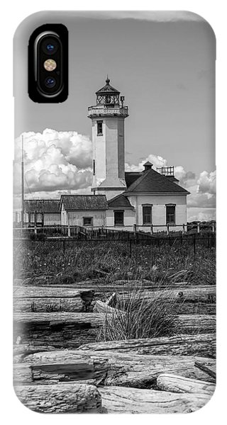 Port Townsend iPhone Case - Black And White Lighthouse With Driftwood by Dan Sproul