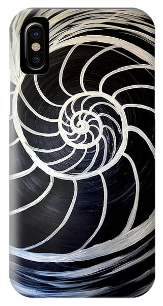 Black And White Nautilus Spiral IPhone Case