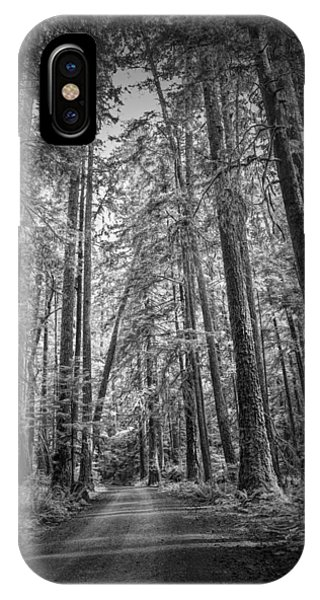 Black And White Of A Road In A Vancouver Island Rain Forest IPhone Case