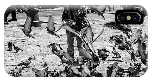 Black And White Of Boy Feeding Pigeons In Sarajevo, Bosnia And Herzegovina  IPhone Case