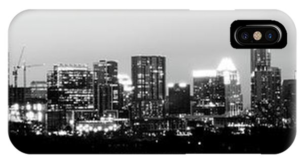 Black And White Panoramic View Of Downtown Austin IPhone Case
