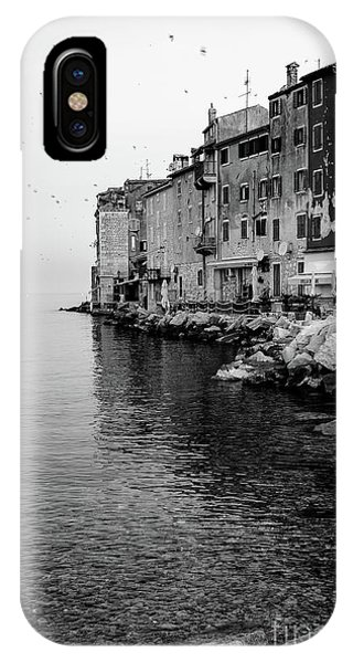 Black And White - Rovinj Venetian Buildings And Adriatic Sea, Istria, Croatia IPhone Case