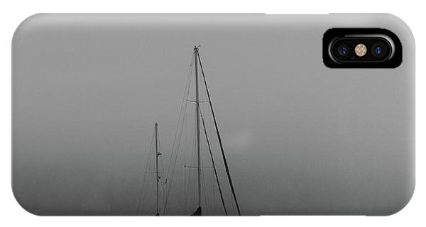 Black And White Sail Ship In Fog IPhone Case