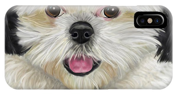 Black And White Shih Tzu With Tennis Ball IPhone Case