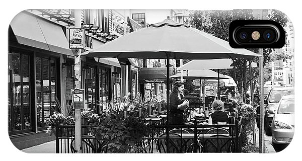 Black And White Sidewalk Cafe IPhone Case