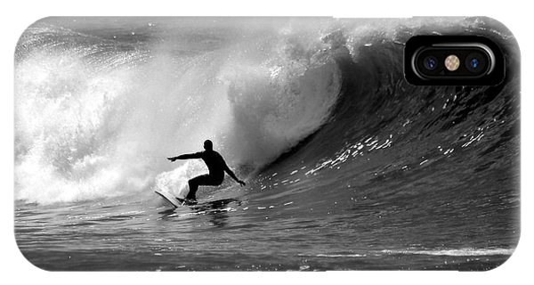 Waves iPhone Case - Black And White Surfer by Paul Topp