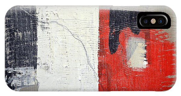 IPhone Case featuring the painting Black And White With Red Box by Michelle Calkins