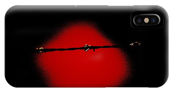 Black Barbed Wire Over Black And Blood Red Background Eerie Imprisonment Scene IPhone Case