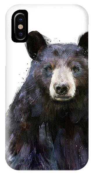 Bear iPhone Case - Black Bear by Amy Hamilton