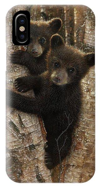 Black Bear Cubs - Curious Cubs IPhone Case