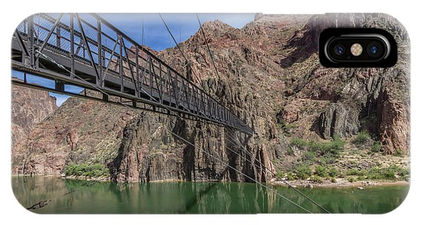 Black Bridge Over The Colorado River At Bottom Of Grand Canyon IPhone Case