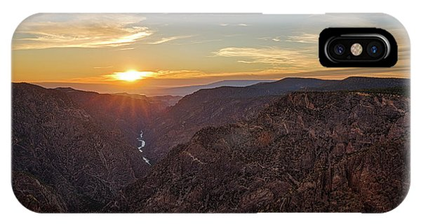 IPhone Case featuring the photograph Black Canyon Sunburst by Denise Bush