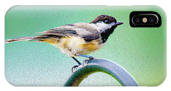 IPhone Case featuring the mixed media Black-capped Chickadee Oil by Onyonet  Photo Studios