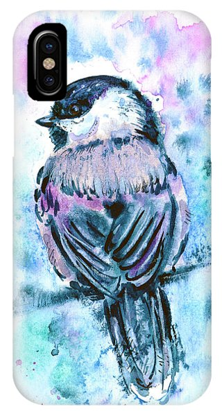 IPhone Case featuring the painting Black-capped Chickadee by Zaira Dzhaubaeva