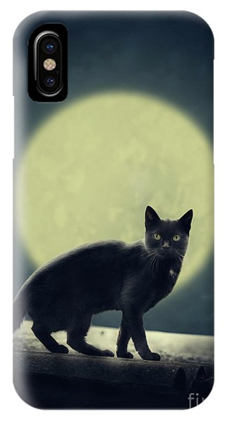 Black Cat And Full Moon IPhone Case