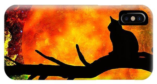 Black Cat Harvest Moon IPhone Case