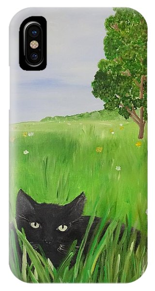 Black Cat In A Meadow IPhone Case