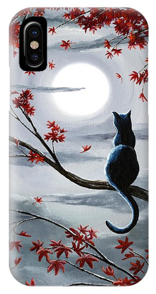 Moon iPhone X Case - Black Cat In Silvery Moonlight by Laura Iverson