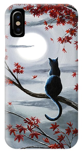 Moon iPhone Case - Black Cat In Silvery Moonlight by Laura Iverson