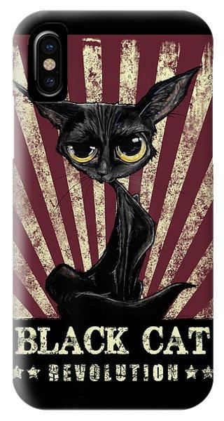 Black Cat Revolution IPhone Case