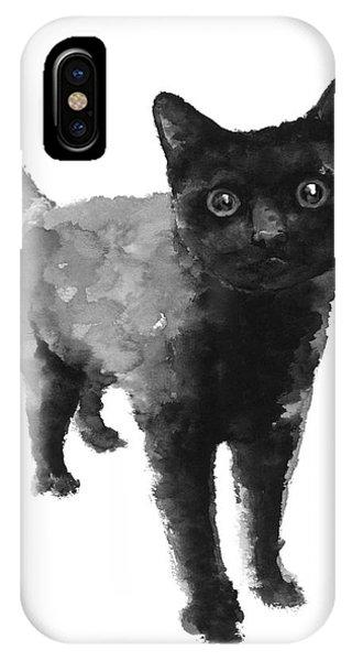 Black Cat Watercolor Painting  IPhone Case