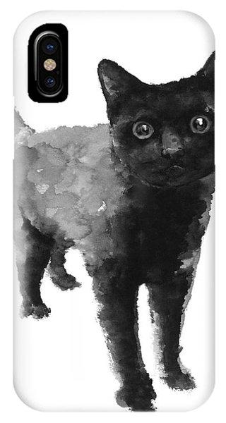 Kitten iPhone Case - Black Cat Watercolor Painting  by Joanna Szmerdt