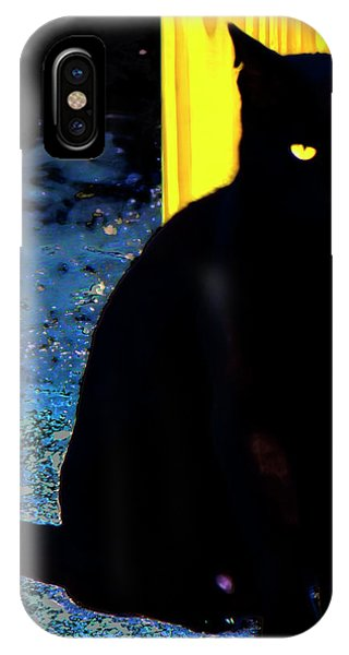 Black Cat Yellow Eyes IPhone Case
