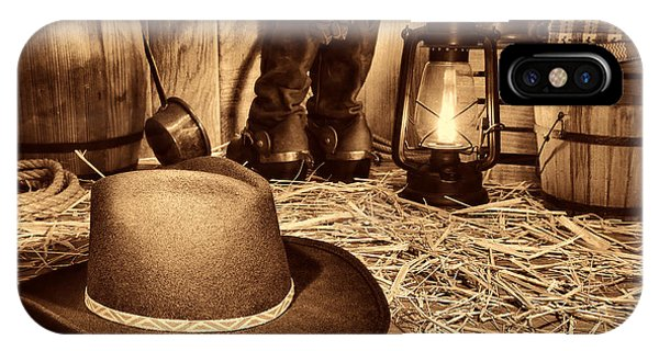 Black Cowboy Hat In An Old Barn IPhone Case