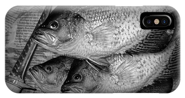 Black Crappie Panfish With Fish Filet Knife In Black And White IPhone Case