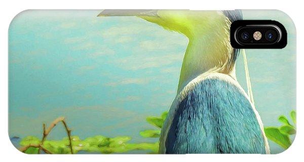 Black-crowned Night Heron Digital Art IPhone Case