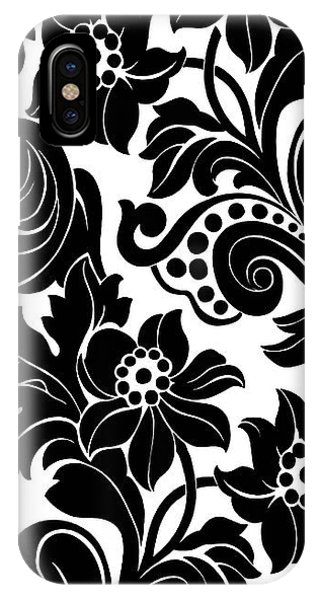 Floral iPhone Case - Black Floral Pattern On White With Dots by Gillham Studios