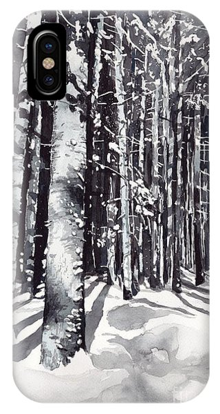 Snowy iPhone Case - Black Forest Watercolor by Suzann's Art