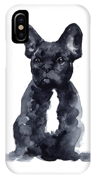 Dog iPhone X Case - Black French Bulldog Watercolor Poster by Joanna Szmerdt